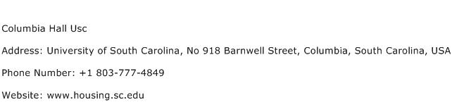 Columbia Hall Usc Address Contact Number