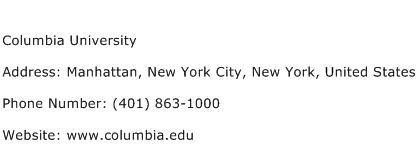 Columbia University Address Contact Number