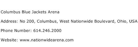 Columbus Blue Jackets Arena Address Contact Number