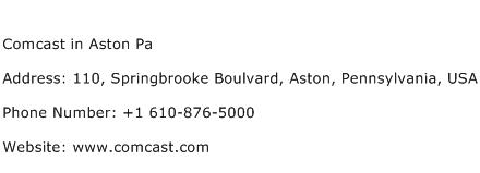 Comcast in Aston Pa Address Contact Number