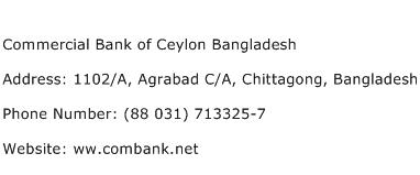 Commercial Bank of Ceylon Bangladesh Address Contact Number