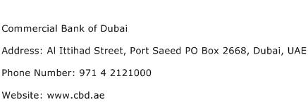 Commercial Bank of Dubai Address Contact Number