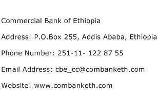 Commercial Bank of Ethiopia Address Contact Number