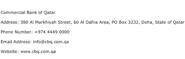 Commercial Bank of Qatar Address Contact Number