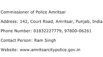 Commissioner of Police Amritsar Address Contact Number