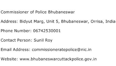 Commissioner of Police Bhubaneswar Address Contact Number