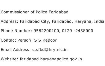 Commissioner of Police Faridabad Address Contact Number