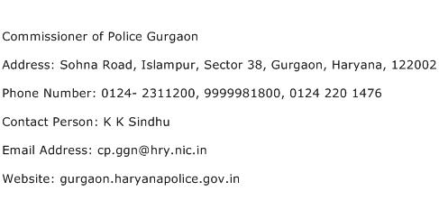 Commissioner of Police Gurgaon Address Contact Number