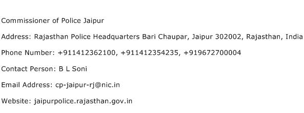 Commissioner of Police Jaipur Address Contact Number