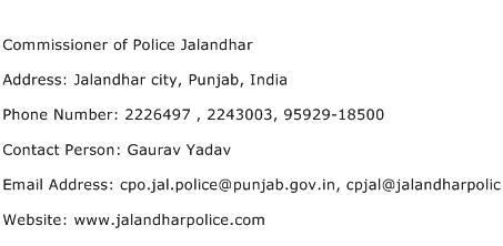 Commissioner of Police Jalandhar Address Contact Number