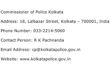 Commissioner of Police Kolkata Address Contact Number
