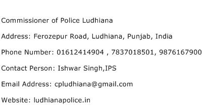 Commissioner of Police Ludhiana Address Contact Number