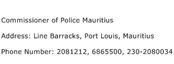 Commissioner of Police Mauritius Address Contact Number
