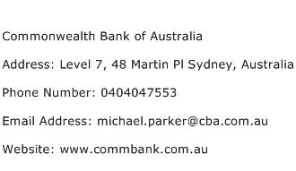 Commonwealth Bank of Australia Address Contact Number