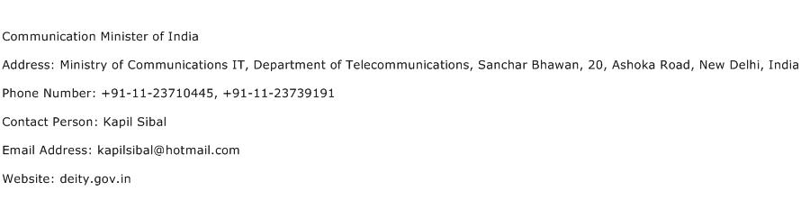 Communication Minister of India Address Contact Number
