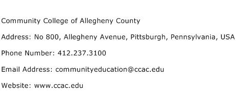 Community College of Allegheny County Address Contact Number