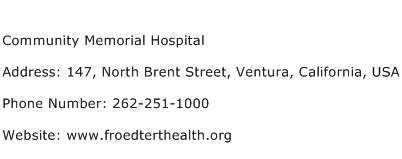 Community Memorial Hospital Address Contact Number