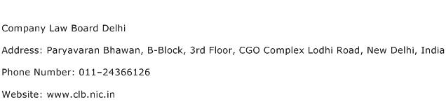 Company Law Board Delhi Address Contact Number