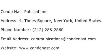 Conde Nast Publications Address Contact Number