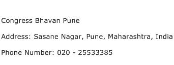 Congress Bhavan Pune Address Contact Number