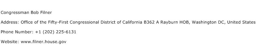 Congressman Bob Filner Address Contact Number