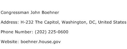 Congressman John Boehner Address Contact Number