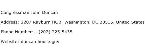 Congressman John Duncan Address Contact Number
