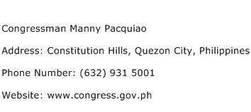 Congressman Manny Pacquiao Address Contact Number