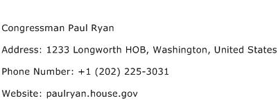 Congressman Paul Ryan Address Contact Number