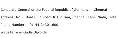 Consulate General of the Federal Republic of Germany in Chennai Address Contact Number