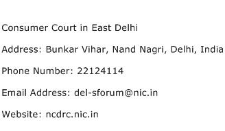 Consumer Court in East Delhi Address Contact Number