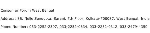 Consumer Forum West Bengal Address Contact Number
