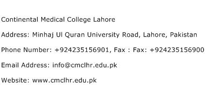 Continental Medical College Lahore Address Contact Number