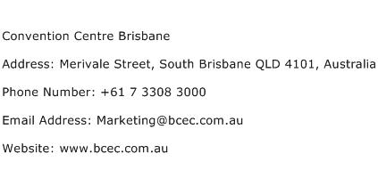 Convention Centre Brisbane Address Contact Number