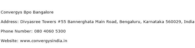 Convergys BPO Bangalore Address Contact Number