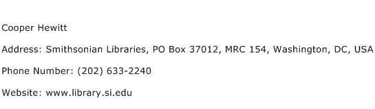 Cooper Hewitt Address Contact Number