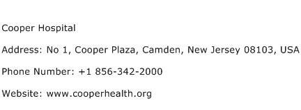 Cooper Hospital Address Contact Number