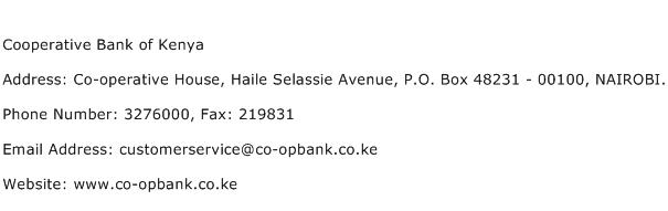 Cooperative Bank of Kenya Address Contact Number