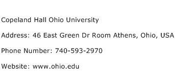 Copeland Hall Ohio University Address Contact Number