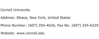 Cornell University Address Contact Number