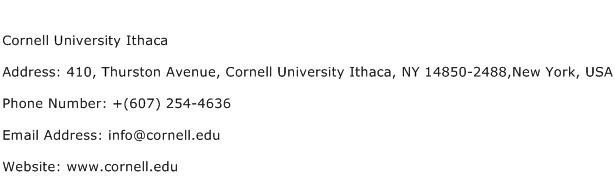 Cornell University Ithaca Address Contact Number