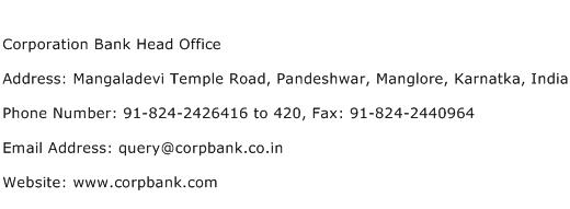 Corporation Bank Head Office Address Contact Number