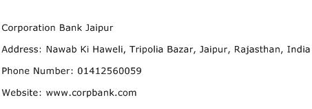 Corporation Bank Jaipur Address Contact Number