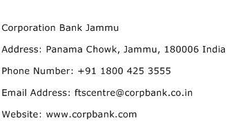 Corporation Bank Jammu Address Contact Number