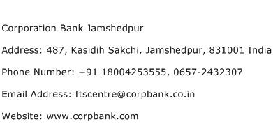 Corporation Bank Jamshedpur Address Contact Number
