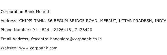 Corporation Bank Meerut Address Contact Number