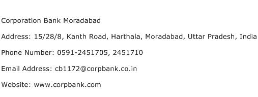 Corporation Bank Moradabad Address Contact Number