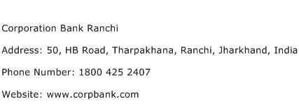 Corporation Bank Ranchi Address Contact Number