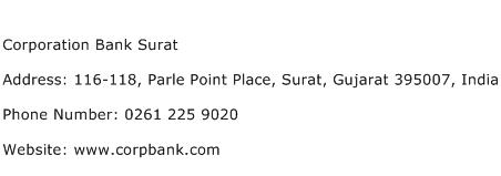 Corporation Bank Surat Address Contact Number