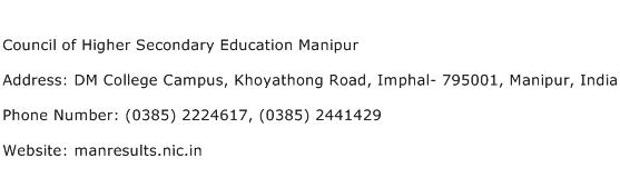 Council of Higher Secondary Education Manipur Address Contact Number